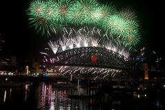 Sydney Harbour Bridge NYE Fireworks Royalty Free Stock Image