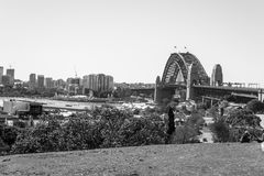 Sydney harbour bridge from the observatory hill Royalty Free Stock Image