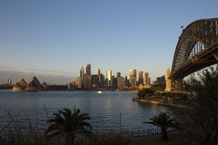 Sydney Harbour Bridge & Opera House. At Sunset Royalty Free Stock Images