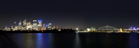 Sydney Harbour Bridge & Opera House. A beautifully clear night at Sydney Harbour. Panoramic Stock Image