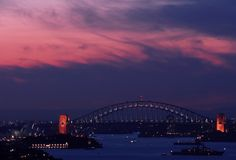 Sydney Harbour Bridge and Opera House. Taken at dusk Royalty Free Stock Photos