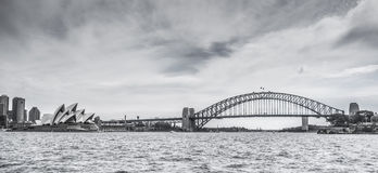 Sydney Harbour Bridge and the Opera house in Black and white Stock Photography