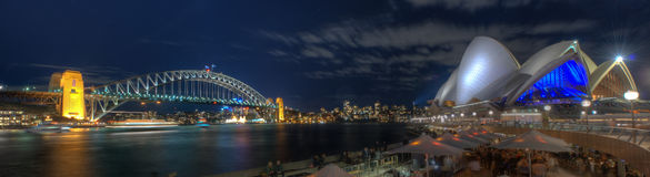 Sydney Harbour Bridge and Opera House by Night Royalty Free Stock Image