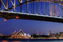 Sydney Harbour Bridge operahus Arkivfoto