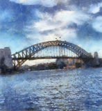 Sydney Harbour Bridge Painting. A painting of Sydney Harbour Bridge stock image