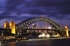 Sydney Harbour Bridge. Picture of the Famous Sydney Harbour Bridge against the evening sky Stock Images