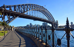 Sydney Harbour Bridge & Railings from Dawes Point Park. Royalty Free Stock Images