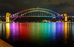 Sydney Harbour Bridge in Rainbow Colours. SYDNEY, AUSTRALIA - JUNE 3, 2013;  Sydney Harbour Bridge lit in vibrant rainbow colours and reflections in Sydney Stock Images