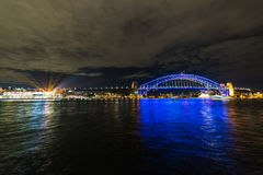 Sydney Harbour bridge and The Rocks during Vivid Sydney 2016 Stock Photo