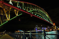 Sydney Harbour Bridge in rvibrant colors during Vivid sydney. NTH SYDNEY, AUSTRALIA - JUNE 6, 2014;  Sydney Harbour Bridge in vibrant  colours during the Annual Royalty Free Stock Photos