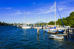 Sydney Harbour Bridge seen from Snails Bay in the suburb of Birchgrove. Sydney Australia Harbour Bridge seen from Snails Bay in the suburb of Birchgrove on a royalty free stock image