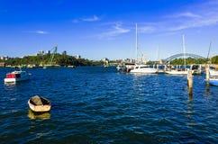 Sydney Harbour Bridge seen from Snails Bay in the suburb of Birc Stock Photos