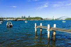 Sydney Harbour Bridge seen from Snails Bay in the suburb of Birc Royalty Free Stock Images