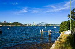 Sydney Harbour Bridge seen from Snails Bay in the suburb of Birchgrove. Sydney Australia Harbour Bridge seen from Snails Bay in the suburb of Birchgrove on a royalty free stock photography