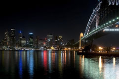 The Sydney Harbour Bridge Series. Sydney Harbour Bridge at night, as viewed from the north side of the bridge looking towards the city of Sydney Royalty Free Stock Image