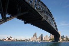Sydney Harbour Bridge skyline. Looking under Sydney Harbour Bridge toward the CDB from North Sydney, Australia Stock Photo