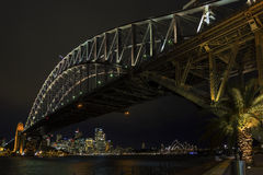 Sydney harbour bridge and skyline landmarks in australia at nigh Royalty Free Stock Photo