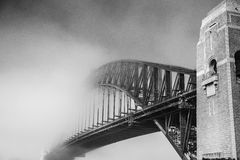 Sydney harbour bridge. The Sydney Harbour Bridge is a steel through arch bridge across Sydney Harbour that carries rail, vehicular, bicycle and pedestrian Royalty Free Stock Images
