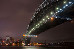 Sydney Harbour Bridge on a storm night. Stock Image