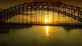 Sydney Harbour Bridge at sunrise, aerial view Royalty Free Stock Photos