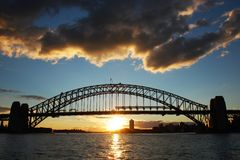 Sydney Harbour Bridge at sunset Royalty Free Stock Photo