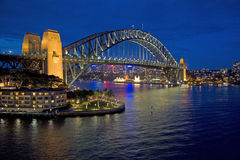 Sydney Harbour bridge after sunset, Australia. Sydney Harbour bridge after sunset. The bridge is illuminated & stands out against the twilight sky, New South stock photos