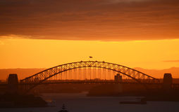 Sydney Harbour Bridge at Sunset. Grand arch of Sydney Harbour Bridge at sunset Stock Images