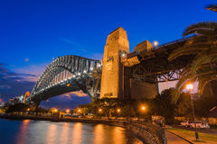 Sydney Harbour Bridge at sunset. Long exposure Sydney Harbour Bridge Sydney Australia at sunset Royalty Free Stock Image