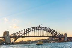 The Sydney Harbour Bridge at sunset in Sydney, Australia Royalty Free Stock Photos