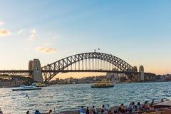 The Sydney Harbour Bridge at sunset in Sydney, Australia Stock Photos