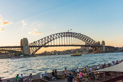 The Sydney Harbour Bridge at sunset in Sydney, Australia Royalty Free Stock Image