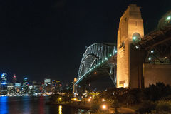 Sydney Harbour Bridge - Sydney, Australia. Sydney Harbour Bridge lit up by night - Sydney, Australia stock image