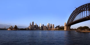 Sydney Harbour Bridge & Sydney Opera House. A beautiful morning at Sydney Harbour. Panoramic Stock Photos