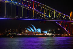 Sydney Harbour Bridge and Sydney Opera House duirng Vivid festiv Royalty Free Stock Photo