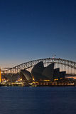 Sydney Harbour Bridge and Sydney Opera House at su Royalty Free Stock Photography