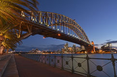 Sydney Harbour Bridge and Sydney Skyline at dusk Royalty Free Stock Photography