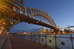 Sydney Harbour Bridge and Sydney Skyline at dusk Stock Photography
