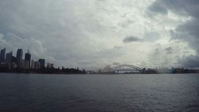 Sydney Harbour Bridge Time Lapse & Sydney Opera House Skyline With Cloudscape In New South Wales, Australia stock video