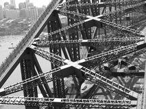 Sydney Harbour Bridge from the tower. Sydney Harbour Bridge from one of the supporting towers in black and white to show the intricate nature of the ironwork in Stock Images