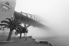 Sydney Harbour Bridge under misten Arkivbilder
