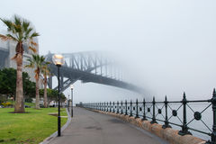 Sydney Harbour Bridge under misten Royaltyfri Fotografi