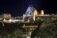 Sydney Harbour Bridge in vibrant colour during Vivid Royalty Free Stock Image