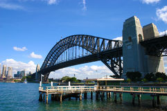 Sydney Harbour Bridge view from north shore Kirribilli, copy space Royalty Free Stock Images