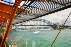 Sydney Harbour Bridge viewed from inside the Sydney Opera House stock image