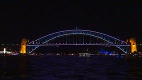 Sydney harbour bridge during vivid stock footage