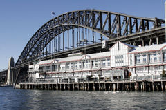 Sydney Harbour Bridge from Walsh Bay Royalty Free Stock Photos