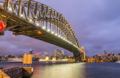 Sydney Harbour Bridge. Wide angle view at night Stock Photography