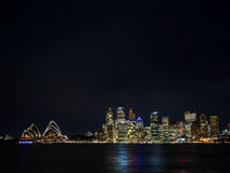 Sydney harbour CBD opera house skyline in australia at night Royalty Free Stock Images