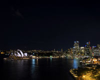 Sydney harbour CBD opera house skyline in australia at night Royalty Free Stock Photos