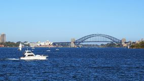 Sydney Harbour, città, teatro dell'opera e ponte, Australia Fotografia Stock